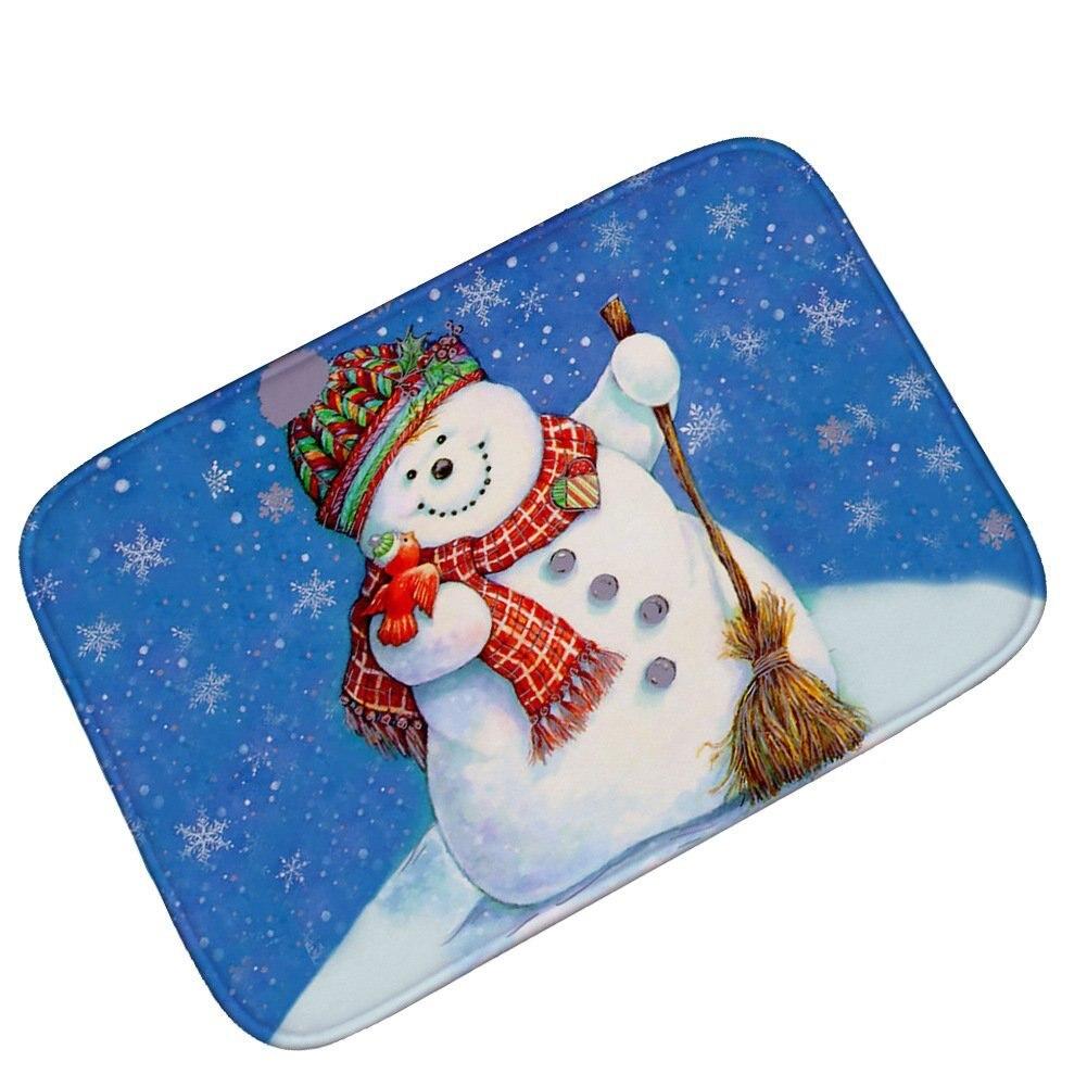 Winter Holiday Merry Christmas Happy Snowman and Cardinals Machine Clean Top Fabric Durable Indoor / Outdoor Doormat Door Mats