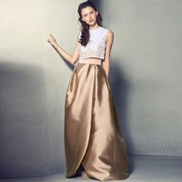 Vintage Champagne A Line Skirt Top Quality High Waist Solid Skirt 2018 Formal Women Skirt Custom Made Any Color Can Choose