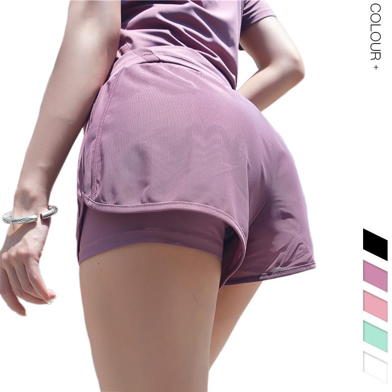 Women's 5-color Loose Mesh Fitness Yoga Shorts Double-deck GYM Yoga Running Shorts Elastic Lined Short Leggings GYM Yoga Shorts