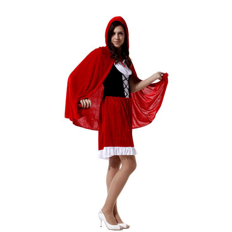 2017 Little Red Riding Hood Costume for Women Fancy Adult Halloween Cosplay Fantasia Plus Size 165cm-178cm Girls COS Dress+Cloak
