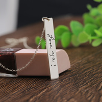 Vertical Stamp Signature Charm Necklace 925 silver Customized Handwriting Pendant Jewelry Personalized