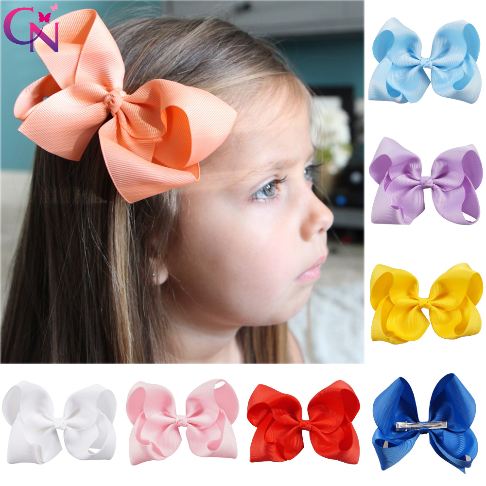 20 Pcs/lot 40 Color 5 Plain Ribbon Bow With Clip For Girls Kids Children Handmade Barrettes Hairgrips Hair Accessories