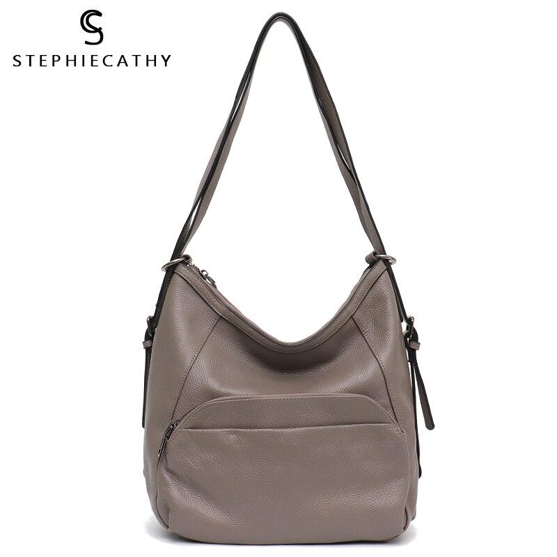 SC Women Genuine Leather Handbags Cow Leather Bags Large Capacity Hobo Ladies Shoulder Belt Bags High