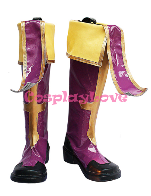 Custom-made BlazBlue Tsubaki Yayoi Rachel Alucard Purple Cosplay Shoes Boots Hand Made For Halloween Christmas Festival