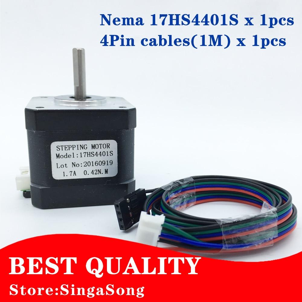 Free Shipping 3D printer 4-lead Nema17 Stepper Motor 42 motor Nema 17 motor 42BYGH 1.7A (17HS4401S) motor for CNC XYZ