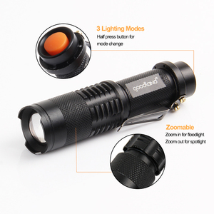 Image 2 - Goodland LED Flashlight Portable LED Torch Waterproof Tactical Flashlight Mini Powerful  Zoomable 3 Mode For Camping Bicycle
