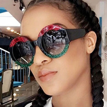 4a2835a41c Long Keeper Red Green Black Circle Sun Glasses Lady Designer Round Sunglasses  Women