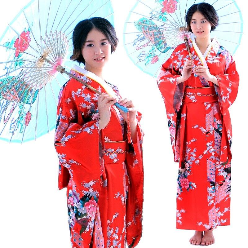 2017 nouveau Kimono japonais traditionnel femmes Yukata avec Obi Performance danse Costumes nationaux femme Satin Kimono robe cospaly
