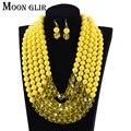 Joyería de los granos africanos set 2017 nupcial de la boda nigeriano perlas africanas boda nigeriano 7 color multi capa collar establece mujeres