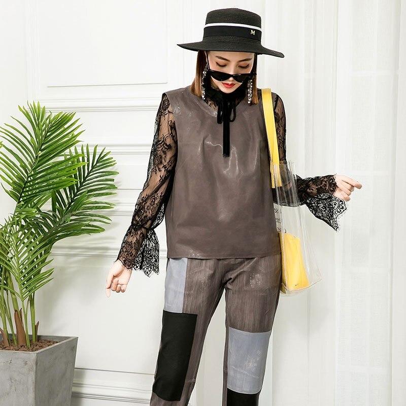 Pièces Ensemble 2019 vest Deux Peau Bureau Femmes Dames Vest Cheville Ensembles And Pantalon vest Pant vest De Luxury Haute Cuir Solide pant Real Taille Longueur Mouton Costume Gilet En Pant pant 6war6Sq