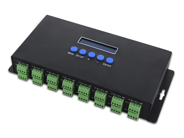 Artnet to SPI/DMX pixel light controller;Eternet protocol input;340pixels*16CH+ two ports(2X512 Channels)output;