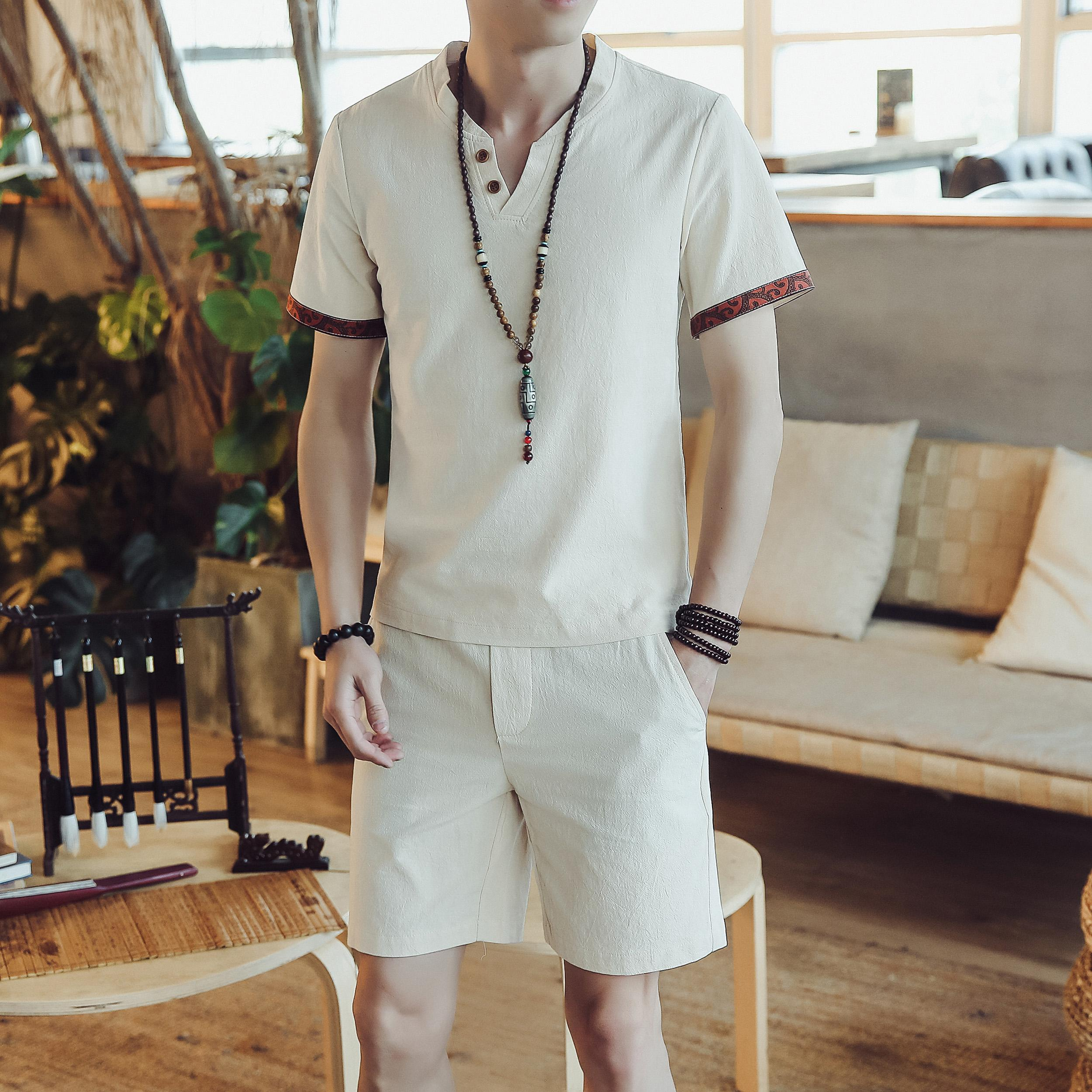 Loldeal Summer Casual Chinese Style Plain Short-sleeved T-shirt Two-piece Shorts Suit