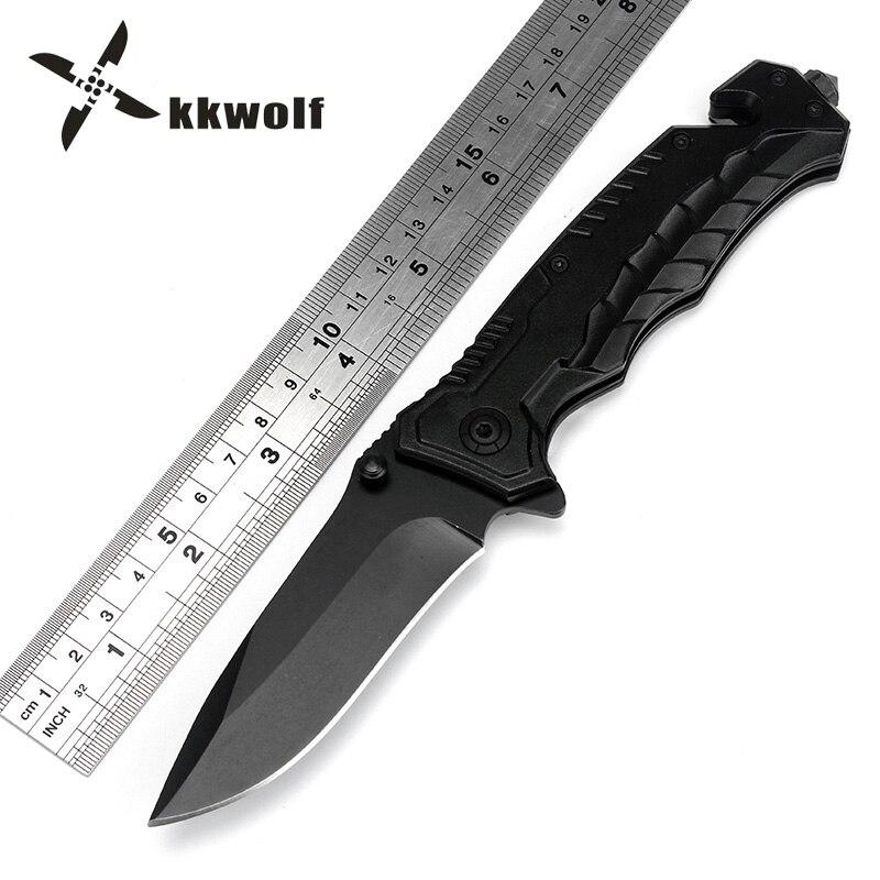KKWOLF Camping cuchillo plegable 440C negro serpiente vientre mango táctico supervivencia cuchillo exterior pesca rescate Multi-propósito EDC herramienta