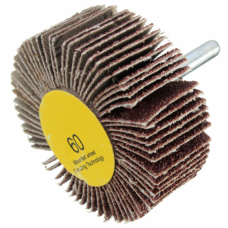 Best Price Flap Wheel Emery Cloth Glue With Resin Disc Sanding Abrasive For Drill 6mm Shank 60 Or 80 Grit Mesh 60x25mm