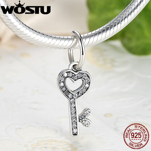 925 Sterling Silver Symbol Of Trust Love Key Charm Fit Original Wost