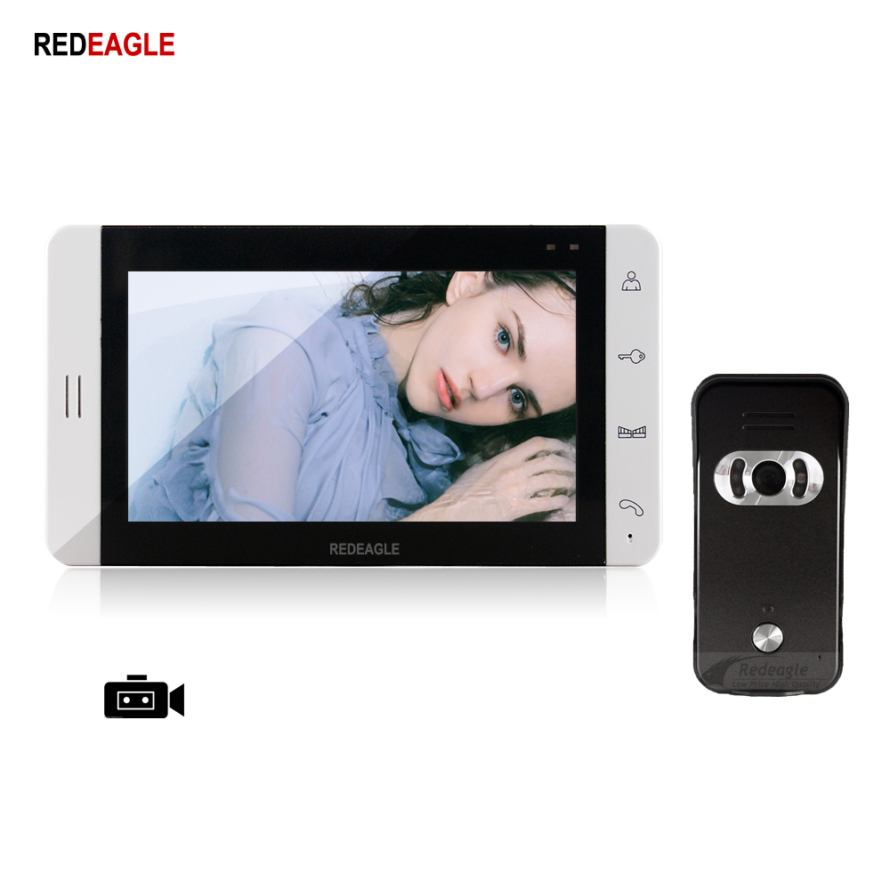 REDEAGLE Home 7 Inch Video Door Phone Record Intercom System Support Max 32GB SD Card Recording Take Photo