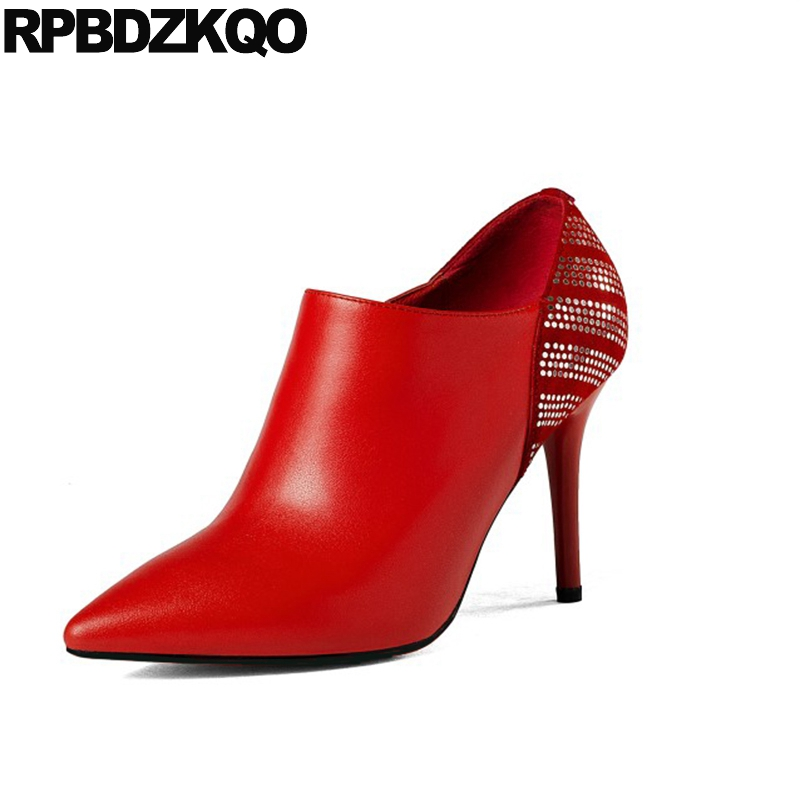 Red Boots Luxury Brand Shoes Women High Heel Ladies Booties Glitter Genuine Leather 2017 Ankle Stiletto Bling Pointed Toe Short