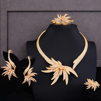 Luxury Party Feather Leaf 4PCS Nigerian Charms Jewelry Set For Women Wedding Zircon Indian African Bridal Jewelry Set 2018