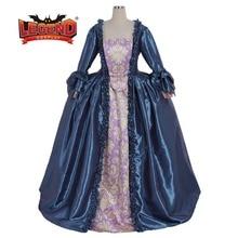 18TH века голубое платье в колониальном стиле Мария Антуанетта Голубое Бальное Платье sack back платье карнавальный костюм