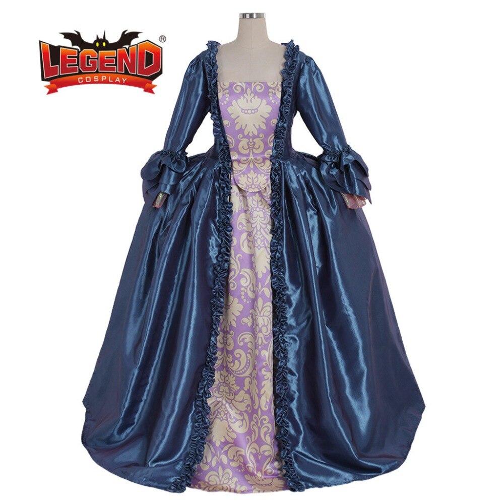 18TH century robe coloniale bleue Marie Antoinette robe de bal bleue sac dos robe costume cosplay