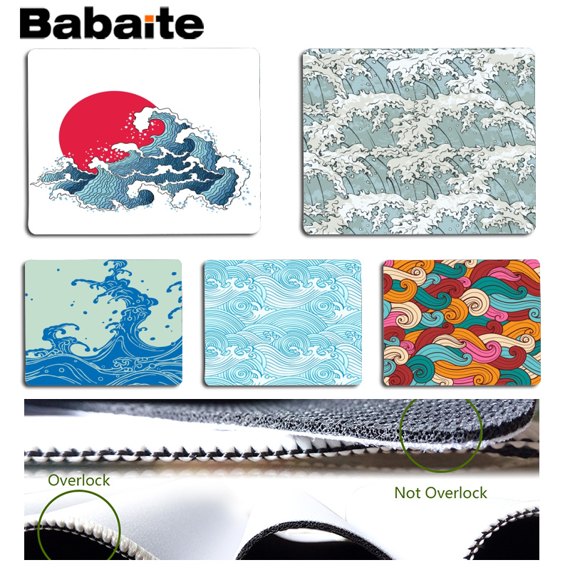 Babaite 2018 New Japanese Style Kanagawa Great Wave Surge Computer Gaming Mousemats Size for 180x220x2mm Small Mousepad