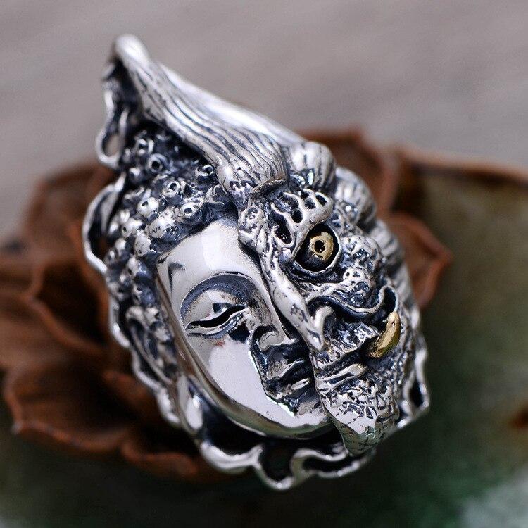 KJJEAXCMY boutique jewelry  925 silver jewelry vintage Thai silver personality men style domineering pendant ancient Buddha aKJJEAXCMY boutique jewelry  925 silver jewelry vintage Thai silver personality men style domineering pendant ancient Buddha a