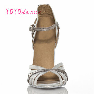 Image 2 - Gold Silver Latin Modern Dance Shoes Soft Outsole Female Square 6 7.5cm,8.5cm Thin Heel Athletic Ballroom Dancing Shoes