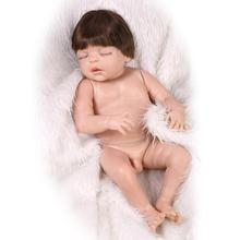 23Inch/57cm Reborn Baby Boy Dolls Full Silicone Naked Body Sleeping Doll Boy Implanting Hair Photography Training Props