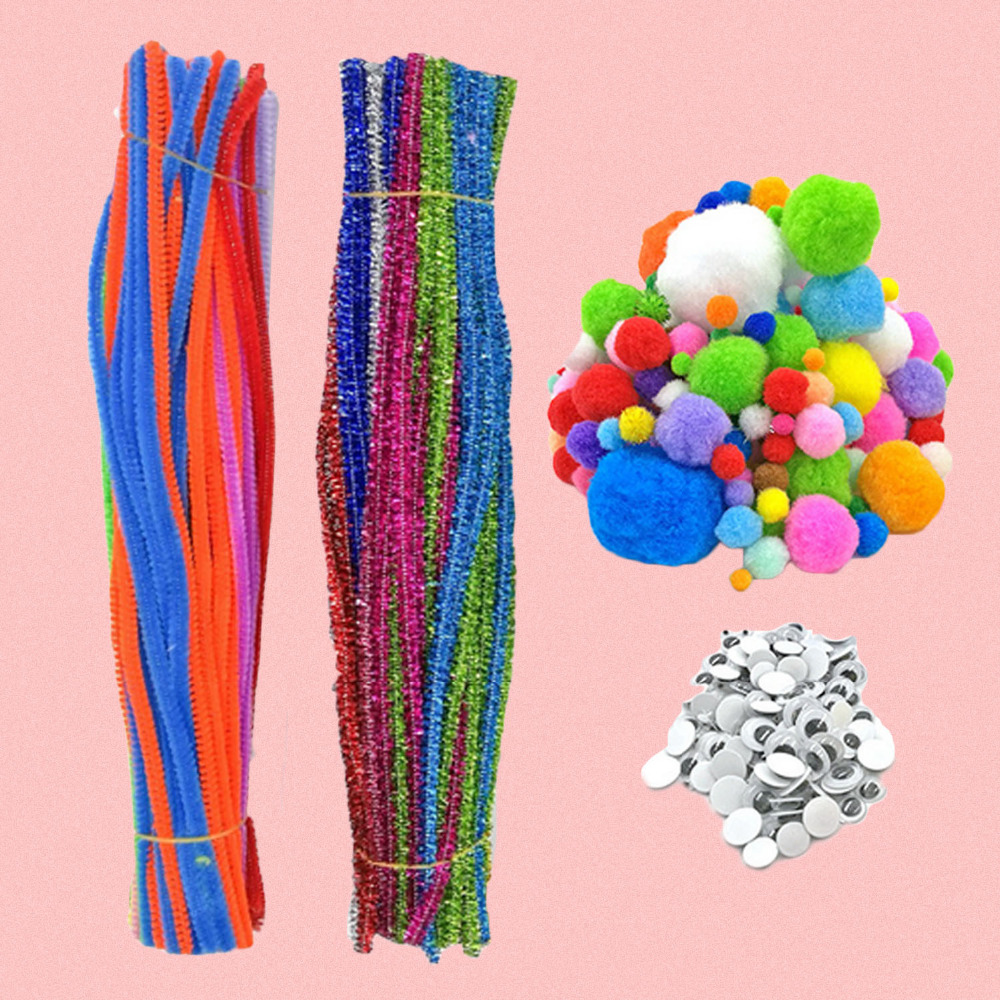 Besegad 550 Pcs Kids DIY Craft Supplies Kit Chenille Stems Pipe Wiggle Googly Eyes Pom Poms Craft Decorations Educational Toys