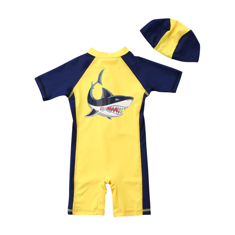 цена на Summer New Baby Kids Boys Shark Beach Swimwear Hat Swimsuit Clothes Swimming Costume