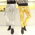 2016 Хип-Хоп Мужские Черные Кожаные Штаны Искусственной Кожи Pu Материал Черный Цвет Мотоцикла Тощий Искусственные Кожаные Штаны