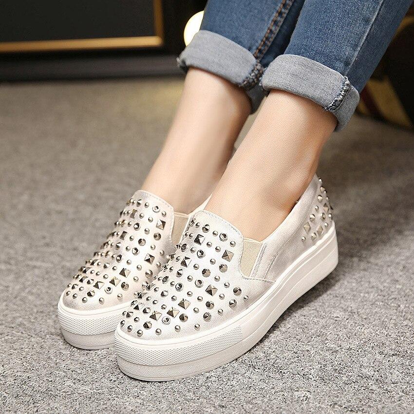 14eab4d7b20 2016 nueva primavera moda otoño planos mujeres plataforma zapatos mocasines  un Pedal perezosos remaches solos zapatos femeninos negros de la astilla  Z3.5 en ...