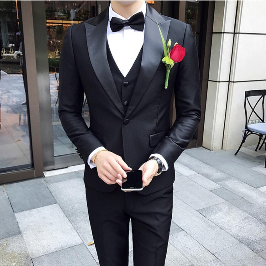 Mens Shawl Collar Suit Contrast Satin CollarTuxedo Wedding Suit For Men Costume Hommes Smoking Dinner Party  Groom Marriage Suit