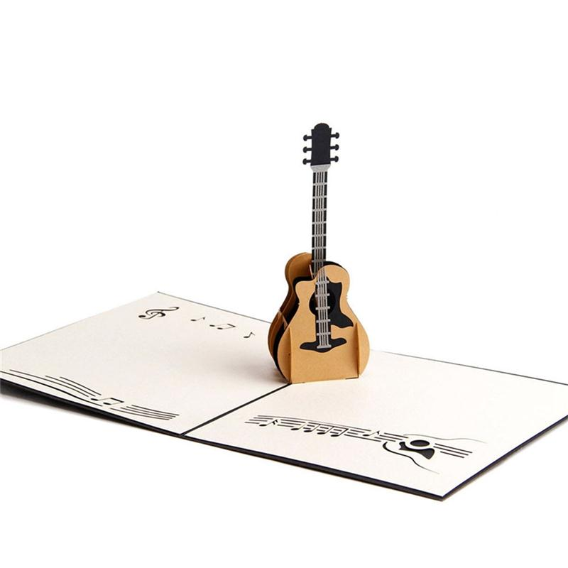 guitar 3d pop up greeting card handmade gift card for birthday wedding anniversary merry. Black Bedroom Furniture Sets. Home Design Ideas