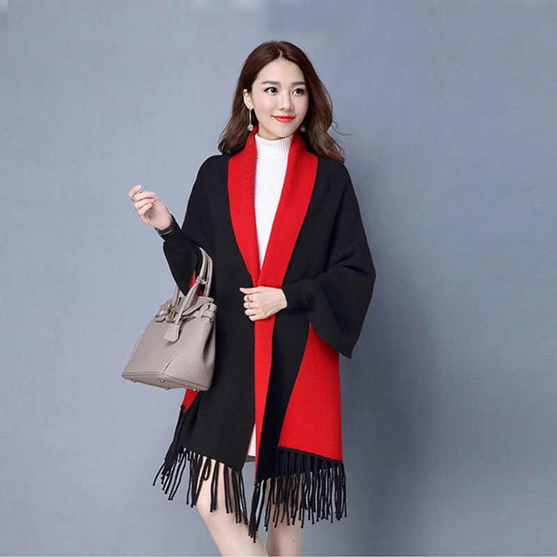 Mingjiebihuo New Cashmere Poncho Shawl With Sleeves Women In Autumn And Winter Thick Warm Double-sided Solid Tassel Cloak Girls