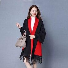 Mingjiebihuo nova cashmere poncho xale com mangas feminino no outono e inverno grosso quente dupla face sólida tassel manto meninas