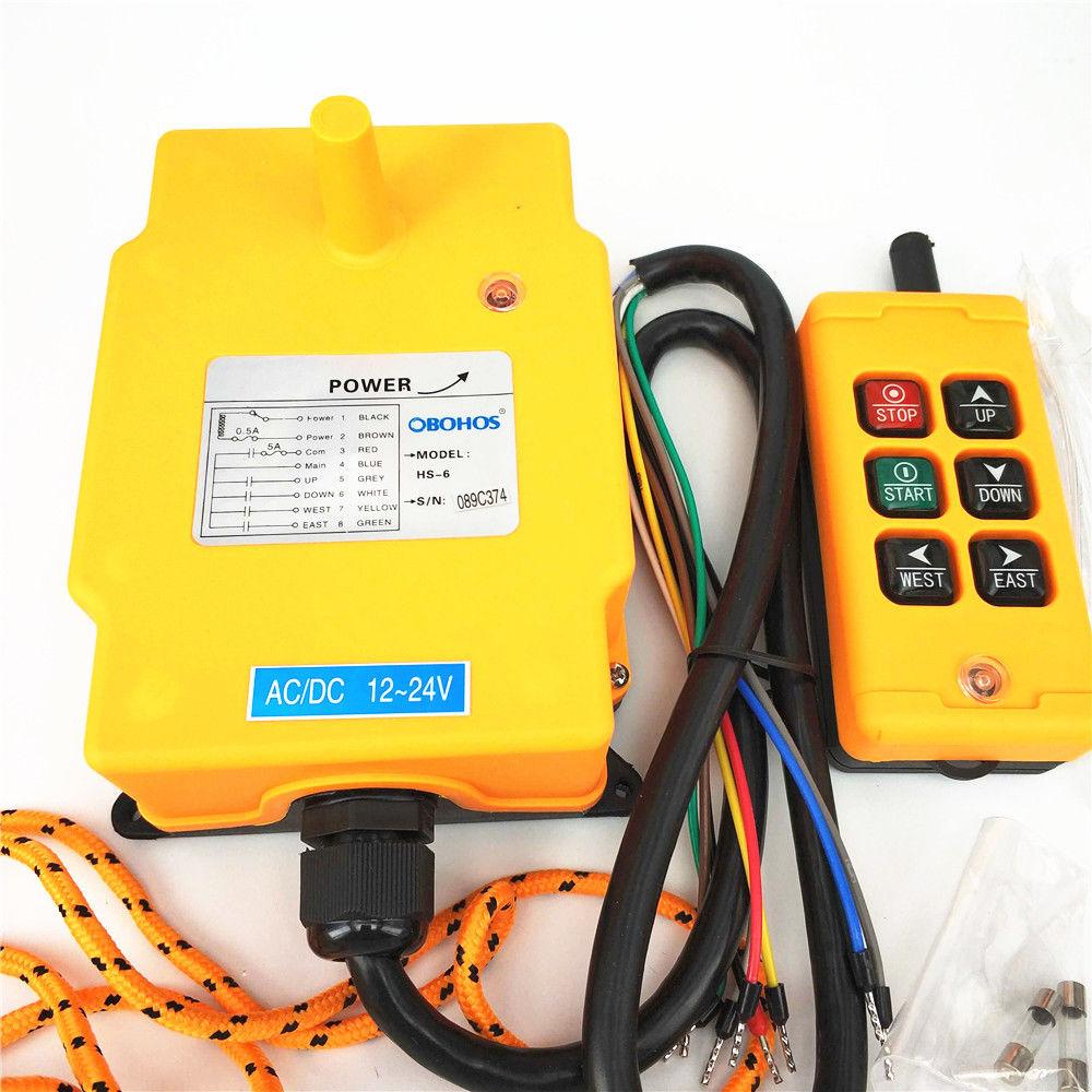 1PCS 2 Motions 1 Speed Crane Hoist Lifter Conveyor Garage Remote Control Switch HS-6