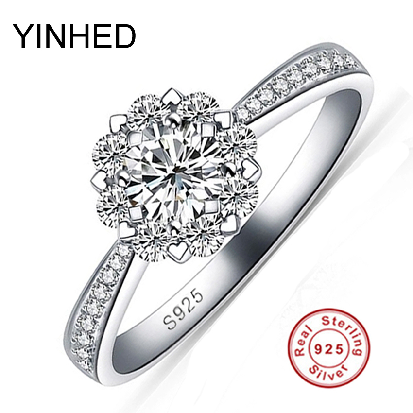 Romantic Snow Flower CZ Diamant Wedding Rings for Women 100 Pure 925 Solid Silver Ring Bridal