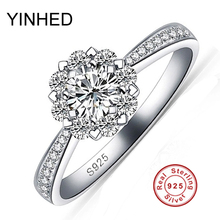 Romántica flor de nieve diamant cz anillos de boda para las mujeres 100% pure 925 anillo de plata anillo de compromiso joyería nupcial sólido zr147