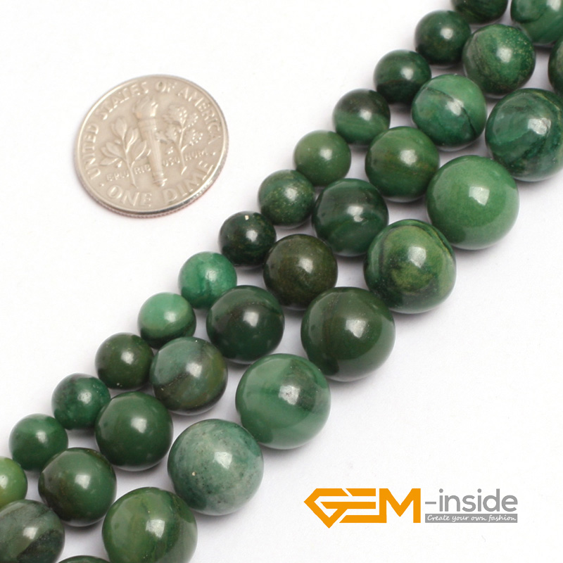 "6mm 8mm 10mm Green African Jades (Jadeite) Acceories Beads Natural Jades Round Beads For Jewelry Making Strand 15"" Wholesale"