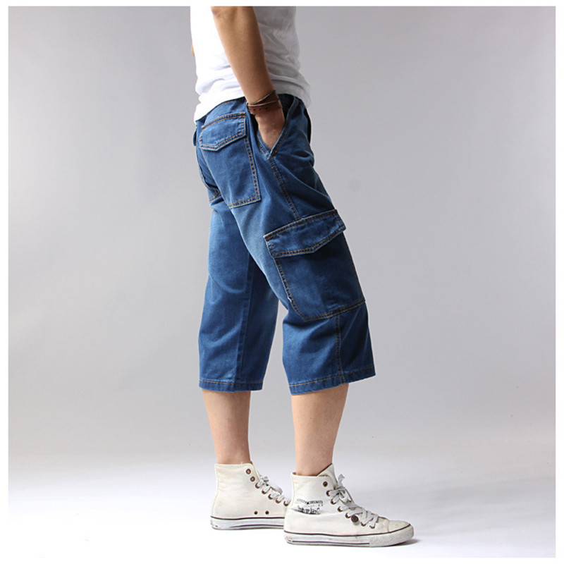 Big Size 42 44 Denim Jeans Men Shorts Multi-Pockets Cargo Casual Solid Loose Shorts 2018 Summer Knee Length Shorts Men 1127 1