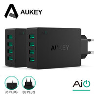 AUKEY USB Charger 4-Ports EU/US Plug Travel Muur Adapter Universele mobiele Telefoon Oplader Voor xiaomi redmi 4x Samsung galaxy s8 s7