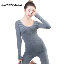 2018 Brand Thermal Underwear Print Striped Sexy Lace Warm Cotton Long Johns Winter Ladies Shaped Underwear Sets for Women