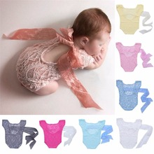 Newborn Baby Girl Lace Silk Bow Back Romper Jumpsuit Photography Prop Outfit New  Infant Costume Babe Clothing