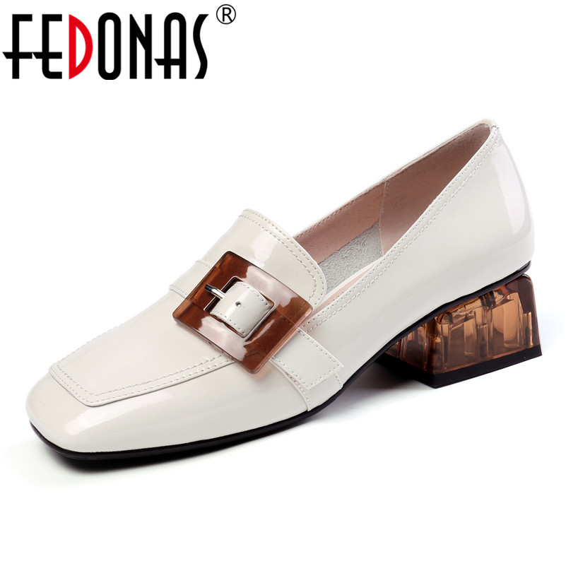 FEDONAS Quality Genuine Leather Square Toe Women Pumps Spring Summer New Arrival Casual Shoes Woman Shallow Buckle High Heels