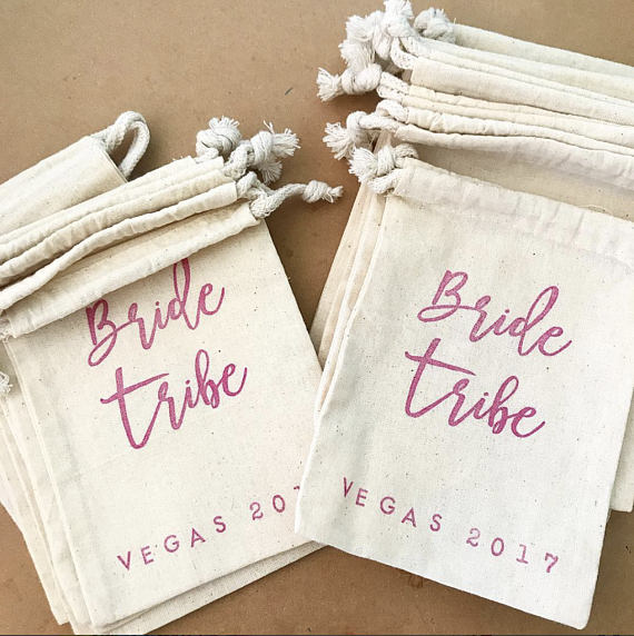 Personalize Pink Bride Tribe Wedding Bachelorette Jewelry Welcome Gift Bags Drawstring Muslin Candy Pouches Ring Bearer In Wring Supplies