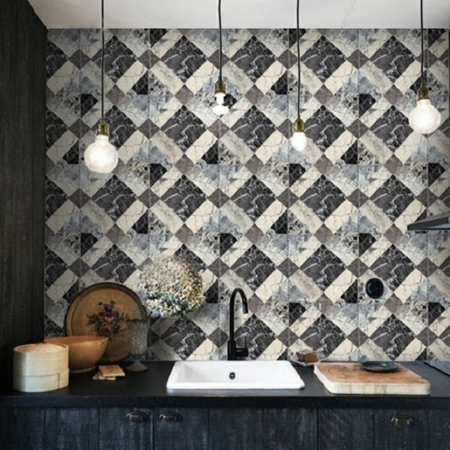 Kitchen PVC Wall Paper Marble Design Vinyl Wallpaper Faux Tile For Walls KTV