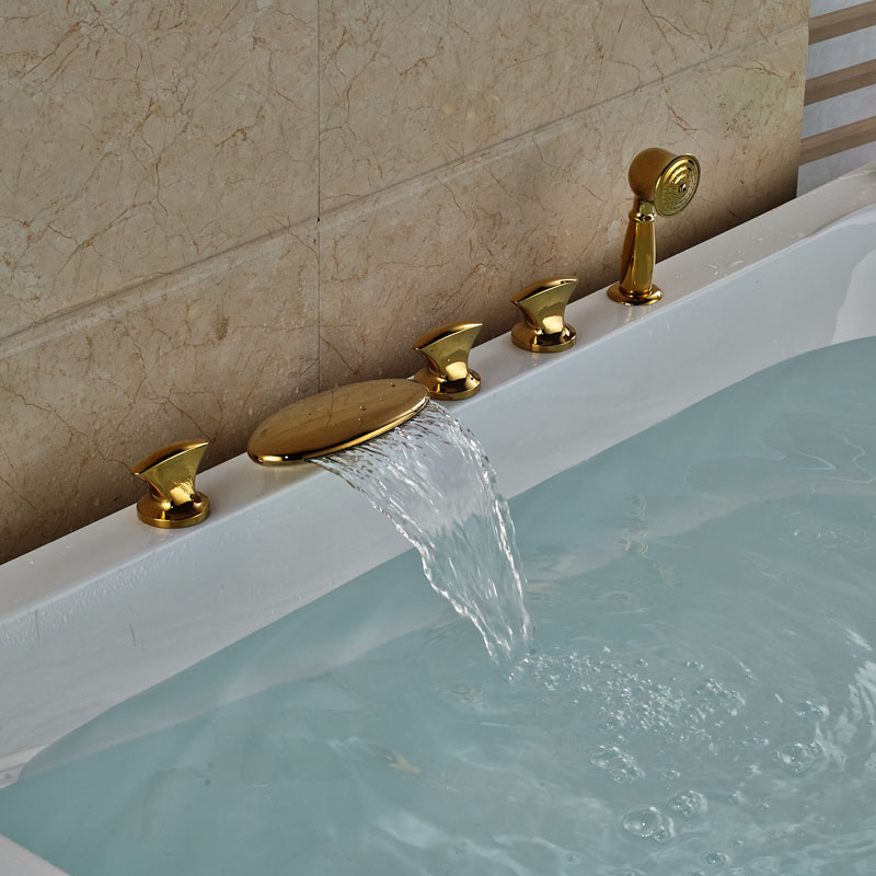 Luxury Golden Waterfall Tub Mixer Taps Deck Mount 5pcs Brass Bathtub Faucet Three Handles + Handshower