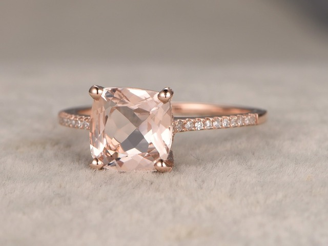 8x8mm Cushion Cut Natural Pink Morganite Engagement Ring Conflict Free Diamond Wedding Band Anniversary Promise Propose