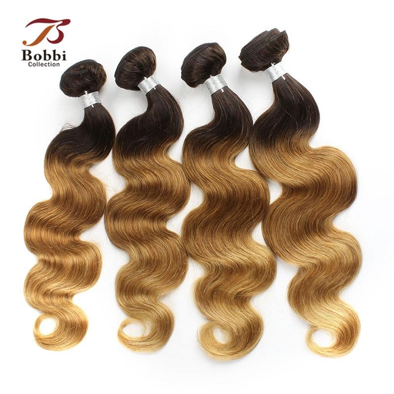 T 4 30 27 Ombre Brazilian Body Wave Hair Weave 4 Bundles Dark Brown Root Honey Blonde Ends Human Hair Extension Bobbi Collection